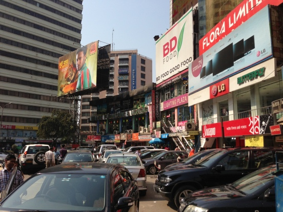 the heavy traffic of Dhaka