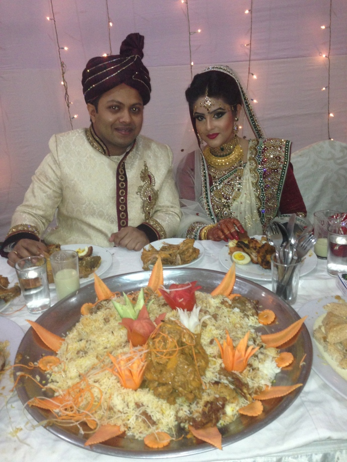 the newly wed Bangladeshi couple during the Reception Dinner- the last big event on their weeklong wedding celebration